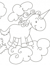 Unicorn flying above clouds coloring pages | Download Free Unicorn