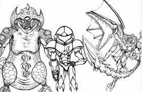 Metroid Prime Coloring Pages Sketch Coloring Page