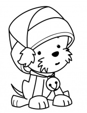 A Sweet Tiny Dog Wearing Santa Clauss Hat on Christmas Coloring Page -  NetArt