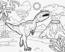 Dinosaur And Volcano Coloring Pages - Coloring Pages For Kids and ...