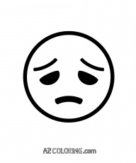 Disappointed, Sad Face Emoji Coloring Page