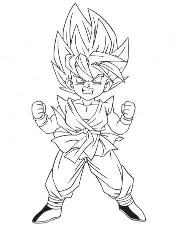 little goku super saiyan 2 form in dragon ball z coloring page - Super Saiyan Gohan Coloring Pages