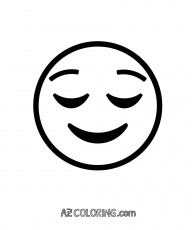 Relieved, Content, Pleased Face Emoji Coloring Page