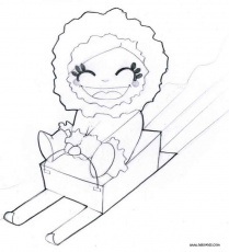 Girl on sled coloring pages - Hellokids.com