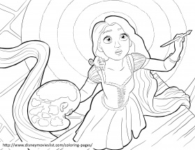 Rapunzel Painting Tangled Coloring Printable Sheet