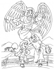 male guardian angel coloring page