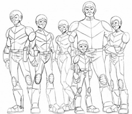 Voltron Force in uniform (final design sketch)