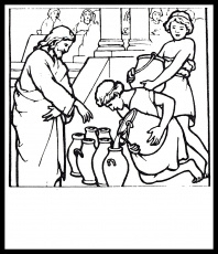 jesus turn six jars of water into wine in miracles of jesus ... - Turn A Photo A Coloring Page