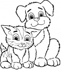 Cat And Dog Cute Coloring Page | Coloring pages