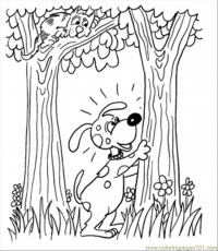 Coloring Pages Dog With Cat In The Forest (Natural World > Forest