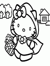 Hello Kitty Spring Coloring Pages - Cartoon Coloring Pages of The