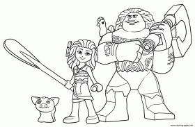 LEGO Moana And Maui Coloring Pages Printable