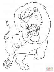 Lion Pride and Hyenas coloring page | Free Printable Coloring Pages