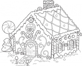 free christmas gingerbread houses coloring pages