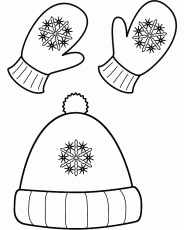 Winter Hat and Mittens - Coloring Page (