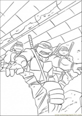 Coloring Pages Three Tmnt In Action (Cartoons > Ninja Turtles