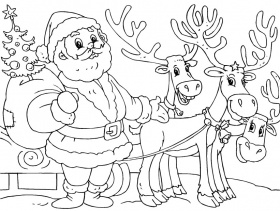 santa and reindeer coloring page