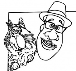 Soul - Joe and his cat coloring page