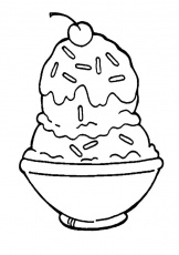 A Full Bowl of Ice Cream Coloring Pages | Bulk Color