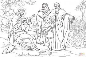Jesus Feeds 5000 People coloring page | Free Printable Coloring Pages
