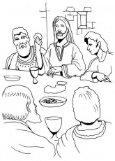 Jesus Eating in the Last Supper Coloring Page | Kids Play Color