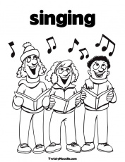Christmas Singing Coloring Pages  Coloring Home