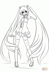 Miku Hatsune Coloring Pages - Coloring Home | 230x159