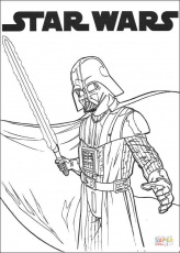 Darth Vader with lightsaber coloring page | Free Printable ...