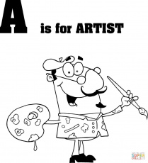 Letter A is for Artist coloring page | Free Printable Coloring Pages