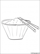 Bowl of rice coloring page | Coloring pages