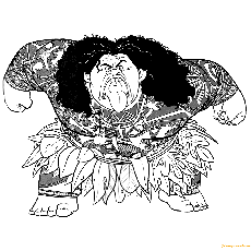Maui Walt Disney Character From Moana Coloring Page - Free ...