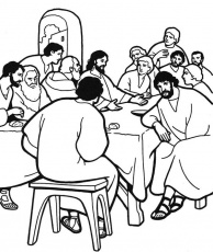 Jesus and His Followers in the Last Supper Coloring Page - Free ...