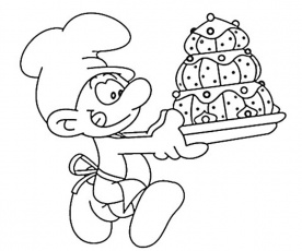 8 baker smurf coloring page