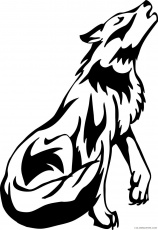 Howling Wolf Coloring Pages wolf howling drawing best Printable  Coloring4free - Coloring4Free.com