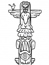 Totem Pole - Coloring Pages for Kids and for Adults