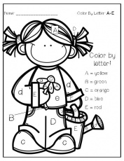 Color by letter easy coloring page