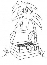 An Opened Treasure Chest in Tropical Island Coloring Page | Kids ...