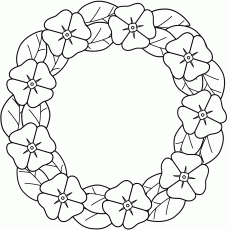 Poppy wreath - Coloring Page (Remembrance Day)