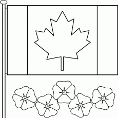 Canadian Flag with poppies - Coloring Page (Remembrance Day)