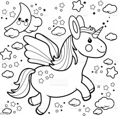 Cute Unicorn Flying In The Night Sky Coloring Book Page Stock Illustration  - Download Image Now - iStock