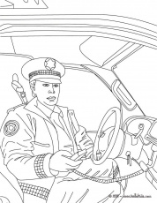 POLICEMAN coloring pages - Policeman in his police car