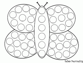 Butterfly do a dot art coloring page