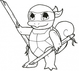 Squirtle Charmander And Pikachu Coloring Pages Sketch Coloring