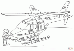 Lego Police Helicopter coloring page | Free Printable Coloring Pages