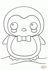 Kawaii Penguin coloring page | Free Printable Coloring Pages