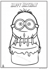 Minion happy birthday coloring page