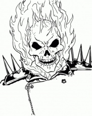 The Burning Face Of Ghost Rider Coloring Page | Superheroes ...