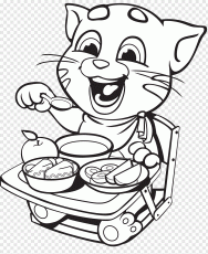 Talking Angela Coloring book Tom Cat Talking Tom Colouring Pages, tom and  jerry coloring pages PNG | PNGWave