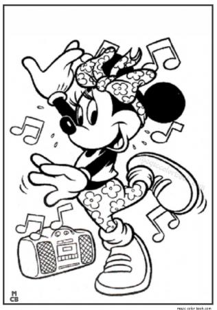 Minnie Mouse Hip Hop Dance Coloring Pages