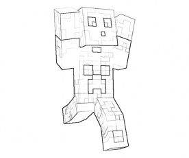 Printable Minecraft Character Action Coloring Page